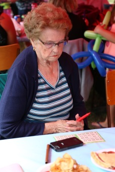 Trying her hand at bingo.